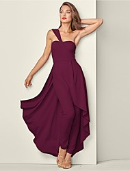 cheap -Jumpsuits Elegant Minimalist Holiday Party Wear Dress One Shoulder Sleeveless Asymmetrical Spandex with Split 2020