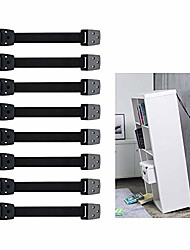 cheap -anti-tip furniture straps, adjustable tv safety straps,8 pack wall anchor for earthquake resistant, heavy duty mounting straps for baby proofing & child safety(white)