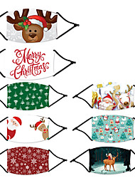 cheap -Washable Christmas Santa Claus Elk Digital Printing Mask Washable With Filter Element Mask Dust Proof