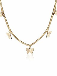 cheap -gold butterfly necklace for women ladies girls gift her jewelry butterfly choker(gold)