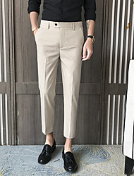 cheap -Men's Suits Notch Standard Fit No Buttons Solid Colored Spandex Polyester