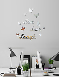 cheap -Butterfly 3D Mirror Wall Stickers Home Decor Art Decal Wall Stickers for Kids Room Living Room Decorating Mural Decoration 62*62cm