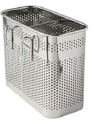 """cheap -kitchen utensils chopsticks holder drying rack basket with hooks 2 divided compartments quality stainless steel large l5.4"""" x h4.3"""" x w2.6"""""""
