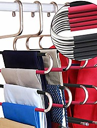 cheap -s-type stainless steel clothes pants hangers closet storage organizer for pants jeans scarf hanging (14.17 x 14.96ins, set of 3) (5-pieces-black&rose(upgrade style))