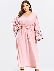 cheap -Women's Swing Dress Maxi long Dress - Long Sleeve Floral Embroidered Patchwork Fall V Neck Plus Size Casual Slim 2020 Blushing Pink XL XXL 3XL 4XL