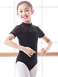 cheap -Ballet Leotard / Onesie Lace Ruching Split Joint Girls' Training Performance Short Sleeve High Spandex Lace
