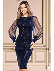 cheap -Women's Sheath Dress Knee Length Dress - Long Sleeve Solid Color Sequins Mesh Fall Sexy Party Lantern Sleeve Slim 2020 Navy Blue S M L XL XXL