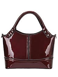 cheap -women's patent leather fashion handbag splice shoulder bag simple top handle bag purse (black)
