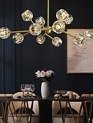cheap -80 cm Semi Flush Mount Copper Ceiling Light Crystal Gold Chandelier Luxury Brass Modern Fashion 110-120V 220-240V