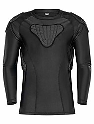"cheap -youth boys padded compression shirts shorts rib chest protector protective sports workout safety t-shirts for football paintball baseball (ys(chest:25-26.5""), long sleeve shirt)"