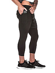 cheap -mens 2-in-1 workout running shorts lightweight gym yoga training sport compression tight short pants with pockets (large, b- black)