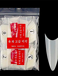 cheap -feugole stiletto nail tips acrylic full cover 500pcs sharp nails short 10 sizes artificial false nails with bag & #40;natural& #41;
