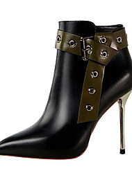 cheap -Women's Boots Stiletto Heel Pointed Toe Vintage Sexy Minimalism Party & Evening Rivet Solid Colored PU Booties / Ankle Boots Black / Coffee