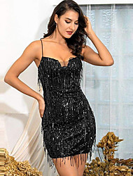 cheap -Sheath / Column Sexy Sparkle Homecoming Party Wear Dress Spaghetti Strap Sleeveless Short / Mini Sequined with Sequin Tassel 2020