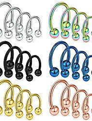 cheap -24pcs 14g surgical steel nose septum horseshoe earring eyebrow tongue lip nipple helix tragus piercing rings 8-14mm