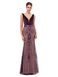 cheap -Mermaid / Trumpet Celebrity Style Sexy Engagement Formal Evening Dress V Neck Sleeveless Floor Length Tulle Velvet with Sequin Embroidery 2020
