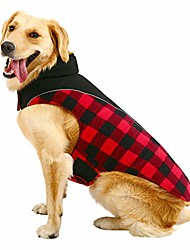 cheap -dog plaid jacket reversible waterproof reflective coat puppy cloth for cold weather pet vest for small medium large dog red l