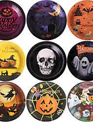 cheap -Halloween Party Halloween Party 10Pcs Table Decoration Wizard Witch Western Disposable Plates Set