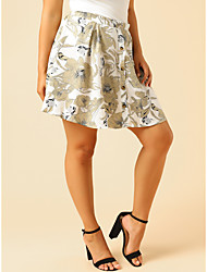 cheap -Women's Casual / Daily Basic Skirts Floral Patchwork White