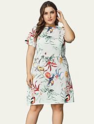 cheap -Women's A-Line Dress Knee Length Dress - Short Sleeve Floral Fall Plus Size Casual 2020 White L XL XXL 3XL 4XL