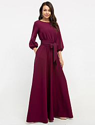 cheap -Women's Sheath Dress Maxi long Dress Wine White Red Blushing Pink Green Long Sleeve Solid Color Patchwork Winter Round Neck Hot Elegant Formal Lantern Sleeve 2021 S M L XL XXL