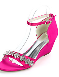cheap -Women's Wedding Shoes Wedge Heel Open Toe Classic Sweet Wedding Party & Evening Satin Rhinestone Solid Colored White Black Purple