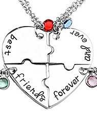 cheap -silver tone alloy rhinestone best friends forever and ever bff necklace engraved puzzle friendship pendant necklaces set(set of 4)