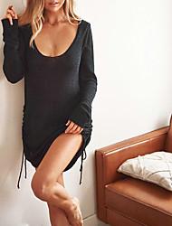 cheap -Women's Sweater Jumper Dress Short Mini Dress White Black Long Sleeve Solid Color Backless Fall Spring Hot Elegant Sexy 2021 S M L XL