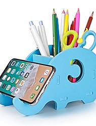 cheap -desk supplies organizer,  cute elephant pencil holder multifunctional office accessories desk decoration with cell phone stand office supplies desk decor organizer christmas gift, blue