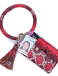 رخيصةأون -keychain bracelet with credit card holder for women wristlet tassel key ring id wallet for lady girls (Small red)