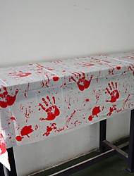 cheap -Halloween Party Halloween Table Linens Table Cloth Polyester Fiber Halloween Classic Holiday Table Cover Table Decorations For Halloween Rectangular 260*130 Cm White Red 1pc