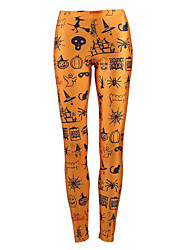 cheap -Women's Exaggerated Breathable Slim Halloween Leggings Pants Plants Full Length Print High Waist Yellow