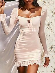 cheap -Women's Sheath Dress Short Mini Dress - Long Sleeve Solid Color Mesh Fall Square Neck Sexy Party Slim 2020 Blushing Pink Light Blue S M L XL