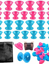 cheap -40 pieces silicone hair curlers set, 20 pieces large and 20 pieces small silicone hair rollers include 2 net cap and 1 storage bag