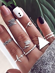 cheap -Multi Finger Ring Geometrical Silver Alloy Airplane Arrow Simple European Fashion 9pcs Middle Finger / Women's