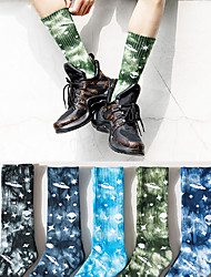 cheap -Athletic Sports Socks 1 Pair Cushion Tie Dye Men's Crew Socks Tube Socks Breathable Sweat-wicking Comfortable Gym Workout Basketball Running Active Training Skateboarding Sports Stars Colorful Cotton