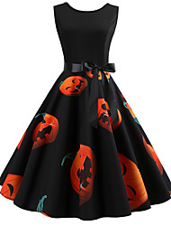cheap -Halloween Women's A-Line Dress Knee Length Dress - Sleeveless Santa Claus Pumpkin Print Patchwork Print Summer Hot Vintage Slim 2020 White Black Red Orange Light Blue S M L XL XXL