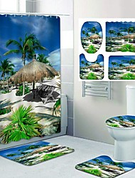 cheap -Fresh Seaside Pattern PrintingBathroom Shower Curtain Leisure Toilet Four-Piece Design
