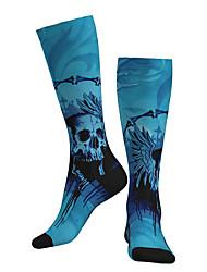 cheap -Socks Cycling Socks Men's Women's Bike / Cycling Breathable Soft Comfortable 1 Pair Skull Cotton Blue M L XL / Stretchy