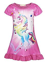 cheap -unicorn nightgowns girls rainbow nightie dresses sleepwear pajamas dress nightshirt halloween outfits clothes (3-4years, rose red, 110)