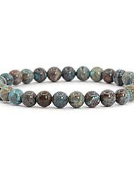 cheap -dyed blue wood veins jasper gemstone 6mm round beads stretch bracelet 6.5 inch unisex