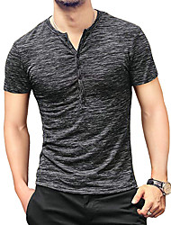 cheap -Men's T shirt Solid Color Short Sleeve Holiday Tops White Black Blue