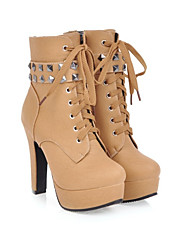 cheap -Women's Boots Chunky Heel Round Toe Booties Ankle Boots Casual Basic Daily Walking Shoes PU Solid Colored Light Brown Black Yellow / Booties / Ankle Boots / Booties / Ankle Boots