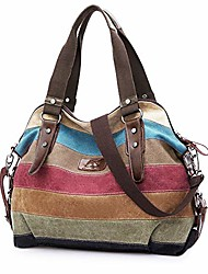 cheap -canvas handbag  multi-color striped lattice cross body shoulder purse bag tote-handbag for women (multi color-04)