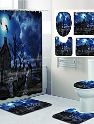 cheap -Halloween Night Pyscho Pattern PrintingBathroom Shower Curtain Leisure Toilet Four-Piece Design