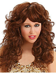 cheap -Cosplay Wig Seduction Brown Curly With Bangs Wig Long Brown Synthetic Hair Women's Anime Cosplay Exquisite Brown