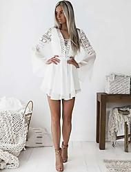 cheap -Women's A-Line Dress Short Mini Dress - Long Sleeve Solid Color Lace Mesh Patchwork Summer V Neck Elegant Holiday Slim 2020 White Black Wine S M L XL XXL