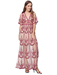 cheap -Sheath / Column Maxi Boho Holiday Party Wear Dress V Neck Short Sleeve Ankle Length Lace with Pattern / Print 2020