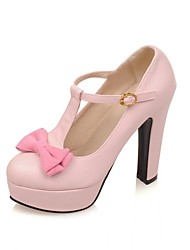 cheap -Women's Heels Wedge Heel Round Toe Sweet Daily PU Bowknot Solid Colored White Black Pink