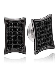 cheap -black 11mm square cz stud earring of mens womens aretes para hombre (black)
